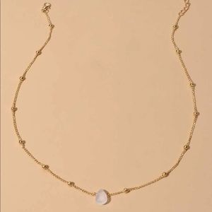 Gold chain crystal water drop chocker necklace